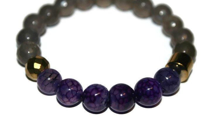 Men's Gray-Purple Agate Beaded Bracelet 10mm | Accessories for Men - Zendelux Rose