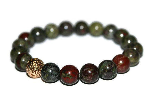Men's Bloodstone Bracelet | 10mm Beaded Bracelet | Men Healing Crystals - Zendelux Rose