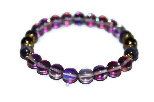 Violet Mystic Aura Quartz Bracelet | Dragonfly Bracelet | Purple Bead Bracelet for Women - Zendelux Rose