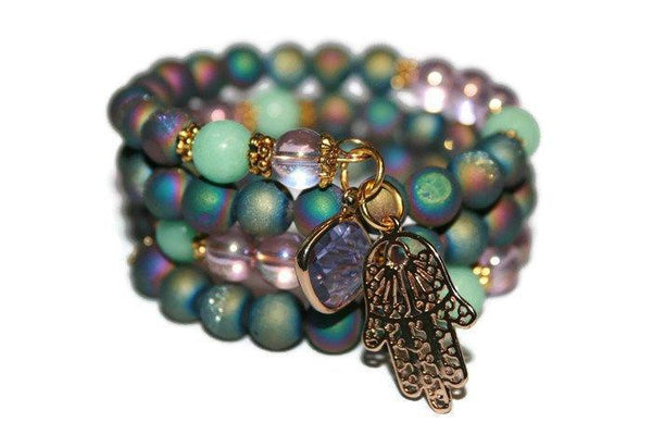 Women's Aquamarine, Druzy- Aura Quartz Hamsa Beaded Bracelet | Memory Wire Bracelet for Women | Healing Crystal Jewelry - Zendelux Rose