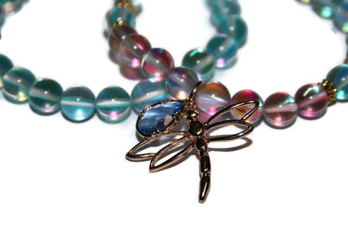 Women's Dragonfly Charm Aqua Aura Quartz Beaded Bracelet Set | Healing Crystal Bracelet | Gift for Her - Zendelux Rose