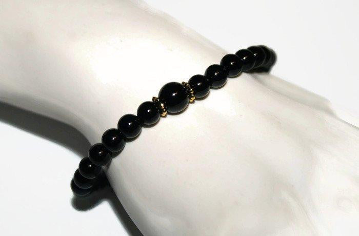 Men's Black Onyx Bracelet | Onyx Beaded Bracelet | Onyx Jewelry - Zendelux Rose
