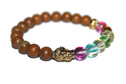 Women's Aura Quartz-Wood Jasper Buddha Beaded Bracelet | Women's Stretch Bracelet | Gift for Her | Energy Bracelet - Zendelux Rose