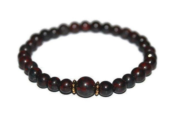 Bloodstone Beaded Bracelet 6mm | Bloodstone Jewelry - Zendelux Rose