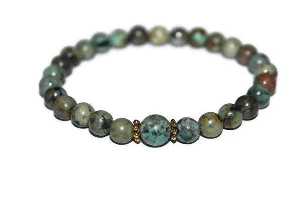 Men's African Turquoise Beaded Bracelet | African Turquoise Jewelry | Healing Crystals - Zendelux Rose