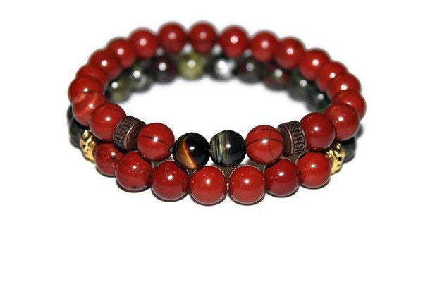Red Jasper & Bloodstone Bracelet Set | Mens Bracelet | Protection Bracelet | Energy Bracelet for Men - Zendelux Rose