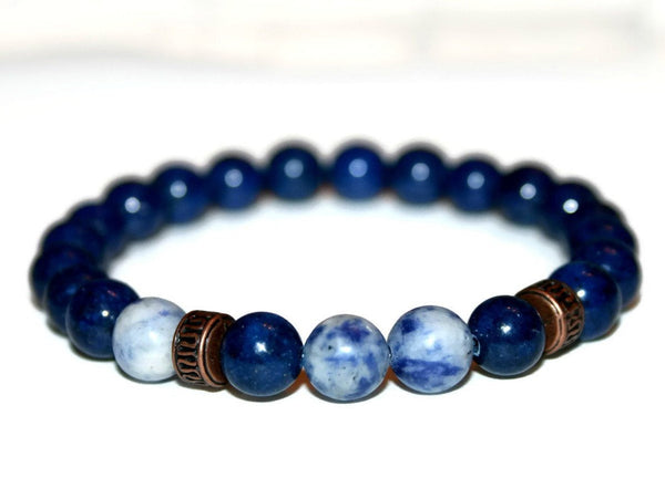 Men's Lapis Lazuli Beaded Bracelet 8mm | Bracelets for Men | Lapis Jewelry | Blue Bead Bracelet - Zendelux Rose