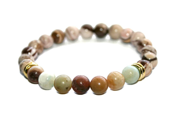 Women's Zebra Jasper-Amazonite Beaded Bracelet - Zendelux Rose