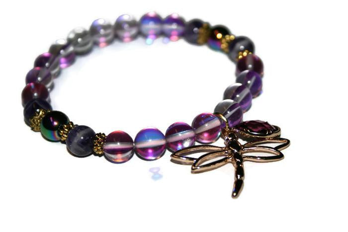 Women's Violet Aura Quartz Dragonfly Beaded Bracelet - Zendelux Rose