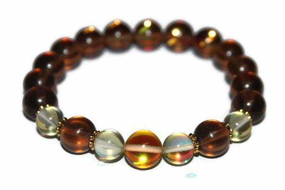 Women's Sunshine, Moss & Sunset Aura Quartz Beaded Bracelet | Healing Crystals for Women | Gift for Her - Zendelux Rose