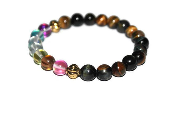 Women's Tiger Eye-Aura Quartz Beaded Bracelet - Zendelux Rose