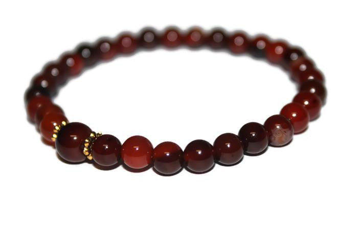 Men's Red Agate Beaded Bracelet 6mm | Healing Crystal Bracelets| Red Bead Bracelet - Zendelux Rose