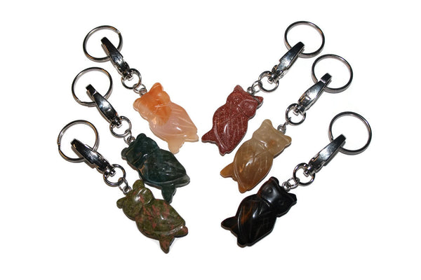 Gemstone Owl Key Chain | Bag Charm - Zendelux Rose