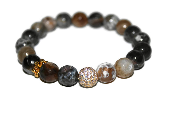 One With Nature Agate Collection | Gray Sky Bracelet | Healing Crystals Bracelet - Zendelux Rose