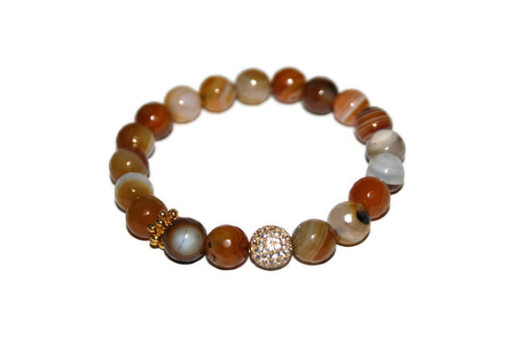 One With Nature Agate Collection | Sunflower Bracelet 10mm - Zendelux Rose