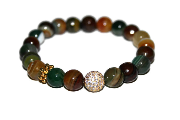 One With Nature Agate Collection | Forest Green Bracelet 10mm | Fashion Bracelet for Women - Zendelux Rose