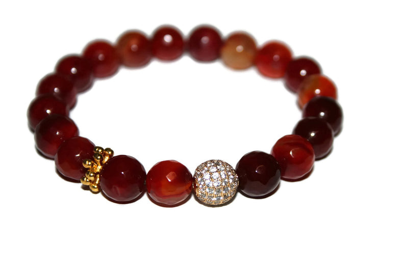 One With Nature Agate Collection | Rosey Red Bracelet 10mm - Zendelux Rose