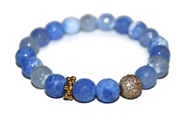 One With Nature Agate Collection - Blue Sky Bracelet 10mm - Zendelux Rose