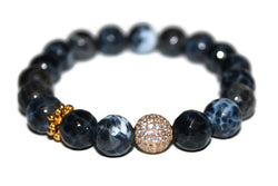 One With Nature Agate Collection | Gray Rock Bracelet 10mm | Fashion Bracelet | Healing Crystals - Zendelux Rose