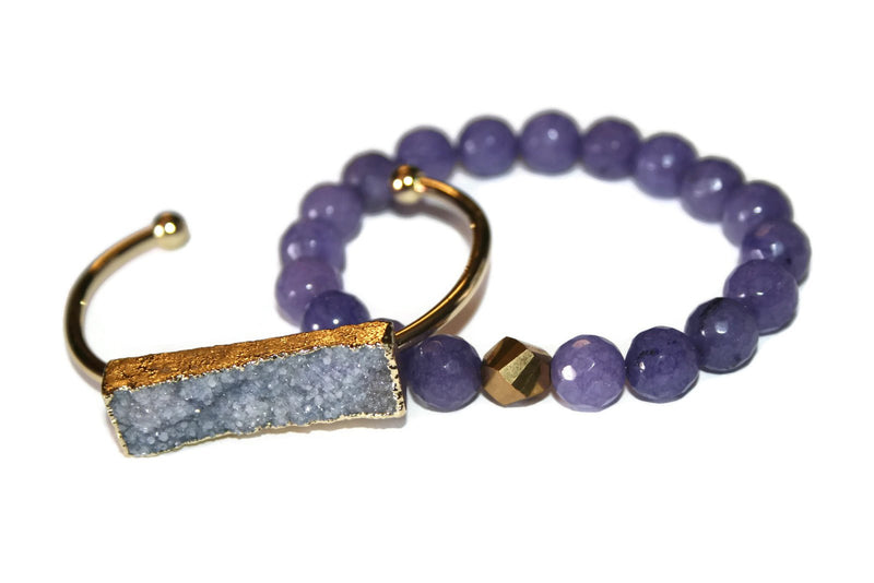 Bangle Collection | Light Purple Druzy Bracelet | Gold Plated - Zendelux Rose