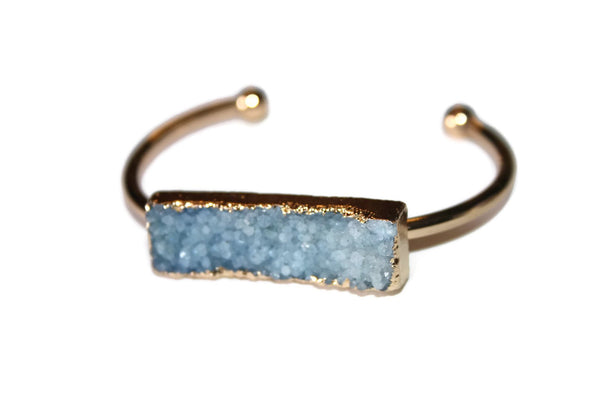 Bangle Collection | Light Blue Druzy Bracelet | Gold Plated - Zendelux Rose