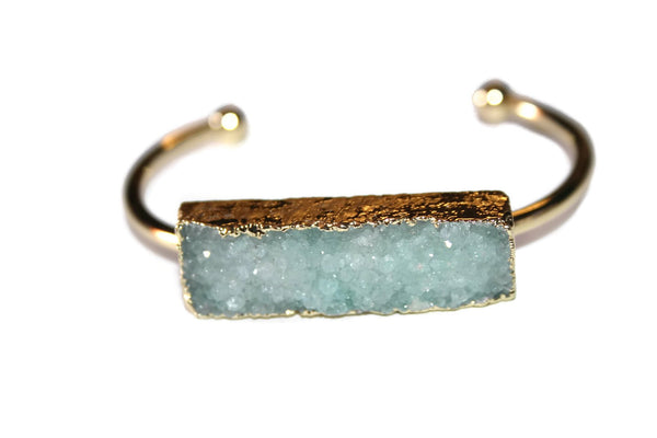 Bangle Collection | Light Green Druzy Bracelet | Gold Plated - Zendelux Rose