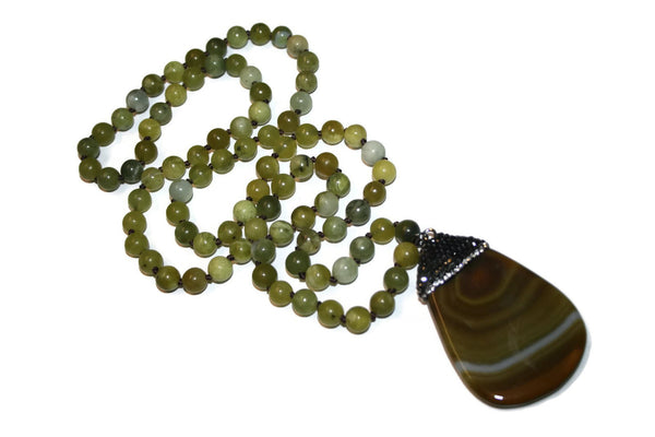 Olive Green Agate Beaded Necklace | Agate Jewelry | Accessories for Women Necklaces - Zendelux Rose