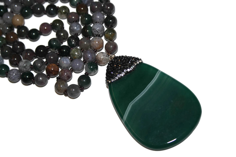 Green Agate Necklace | Beaded Necklace | Agate Jewelry for Women - Zendelux Rose