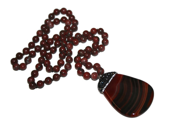 Brown Agate Knotted Beaded Necklace | Pave Crystal | Agate Jewelry for Women - Zendelux Rose