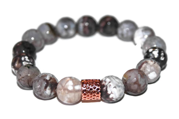 Men's Gray Agate Beaded Bracelet 12mm - Zendelux Rose