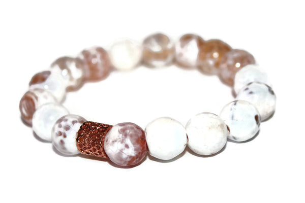 Men's White Agate Beaded Bracelet | Healing Crystal Bracelet | Agate Jewelry for Men - Zendelux Rose