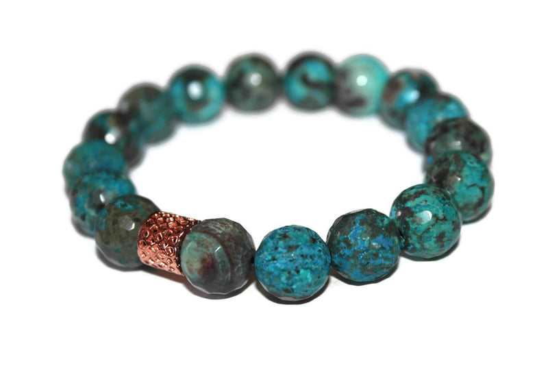 Men's Green/Blue Agate Beaded Bracelet 12mm | Healing Crystals for Men | Agate Jewelry - Zendelux Rose