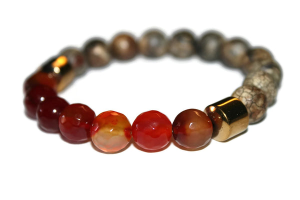 Men's Red Agate & Jasper Beaded Bracelet 10mm - Zendelux Rose