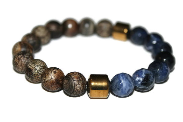 Men's Multi-color Agate & Jasper Beaded Bracelet 10mm | Bracelet for Men | Gifts for Men - Zendelux Rose