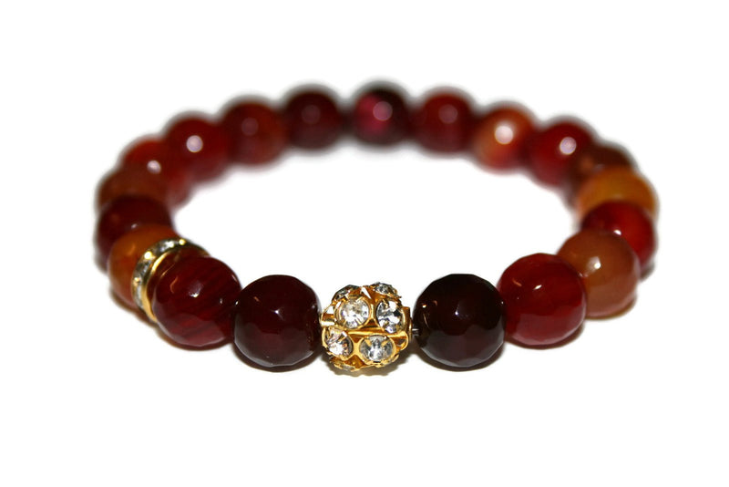 Women's Natural Faceted Red Agate Bracelet | Red Bead Bracelet | Red Crystal Jewelry | Boho Jewelry - Zendelux Rose