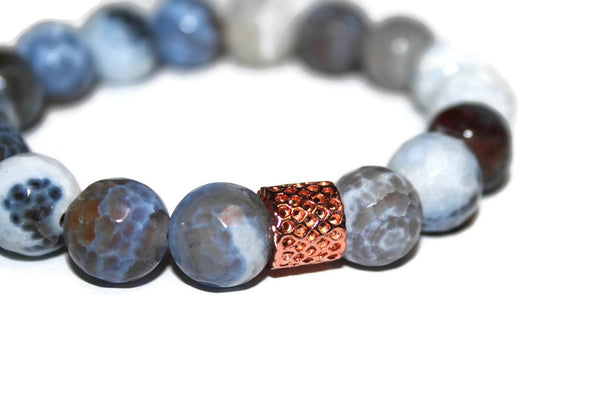 Men's Blue & White Agate Beaded Bracelet 12mm | Agate Jewelry for Men - Zendelux Rose