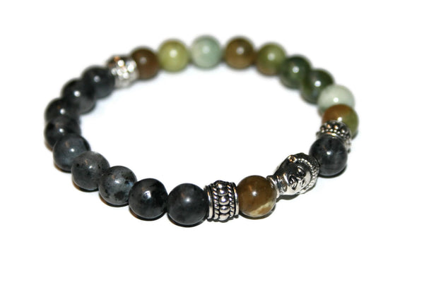Green Jasper and Labradorite Buddha Bracelet | Fashion Bracelet - Zendelux Rose