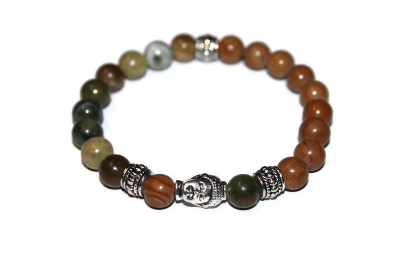Green-Wood Jasper Buddha Beaded Bracelet | Buddha Jewelry | Jasper Bracelet for Men - Zendelux Rose