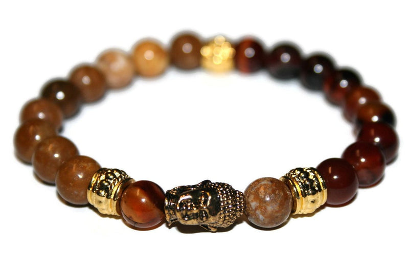 Red Agate and Jasper Gold Buddha Bracelet | Fashion Bracelet - Zendelux Rose