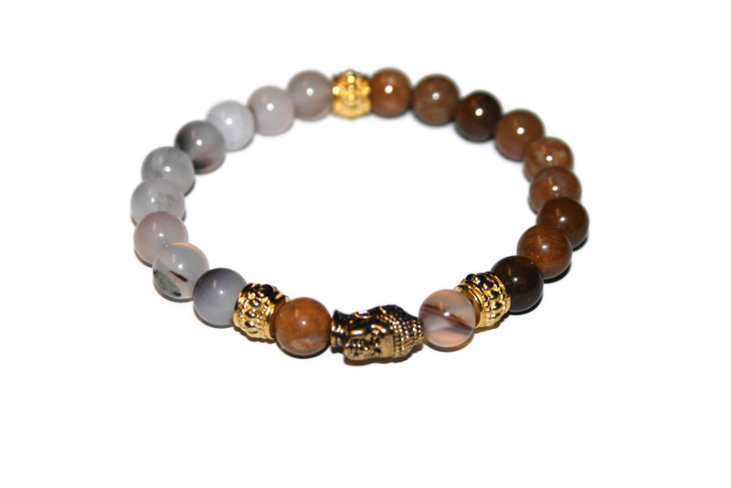 Montana Stripe Agate and Yellow Jasper Gold Buddha Bracelet | Fashion Bracelet - Zendelux Rose
