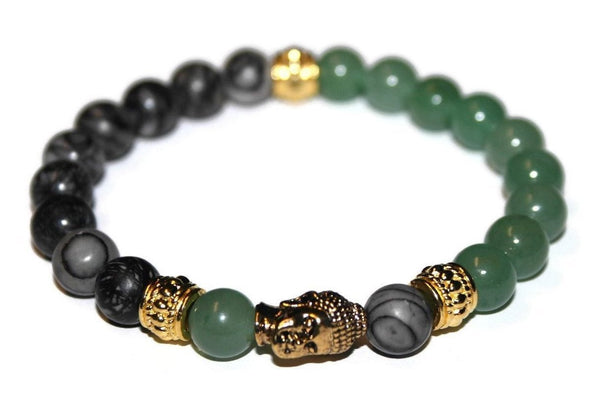 Green Aventurine and Spiderweb Jasper Gold Buddha Bracelet | Fashion Bracelet - Zendelux Rose