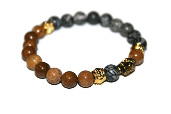 Yellow Jasper and Spiderweb Jasper Gold Buddha Bracelet | Fashion Bracelet - Zendelux Rose