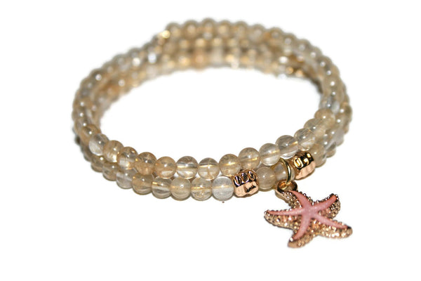 Women's Quartz Starfish Bracelet | Beaded Memory Wire Bracelet | Crystal Wrap Bracelet | Healing Crystal Jewelry - Zendelux Rose