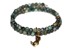 African Turquoise Mermaid Memory Wire Bracelet | Beaded Wrap Bracelet | Mermaid Bracelet - Zendelux Rose
