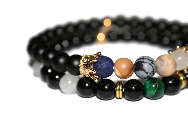 Men's Crown Bracelet Set | Onyx Bracelet | Fashion Bracelet for Men - Zendelux Rose