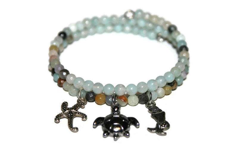 Women's Amazonite Sea Charm Bracelet | Beaded Memory Wire Bracelet | Crystal Wrap Bracelet | Healing Crystal Jewelry - Zendelux Rose