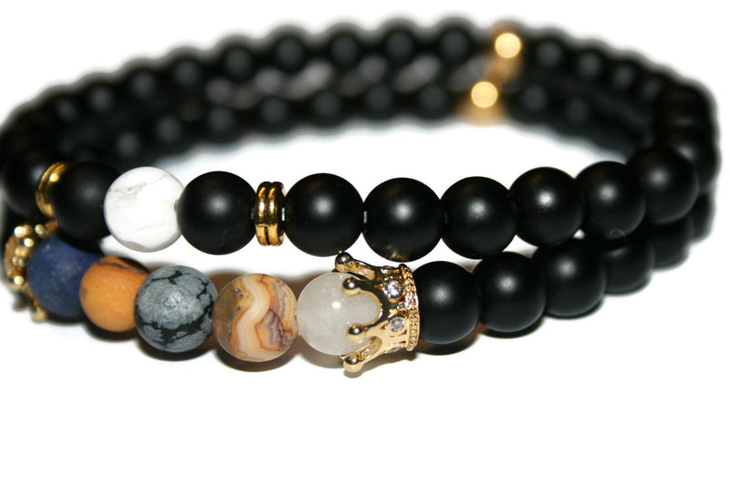 Men's Crown Bracelet Set | Onyx Bracelet | Beaded Jewelry | Fashion Bracelet for Men - Zendelux Rose