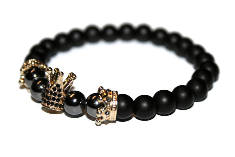 Men's Crown Bracelet | Matte Onyx Bracelet | Hematite Jewelry | Fashion Bracelet for Men - Zendelux Rose