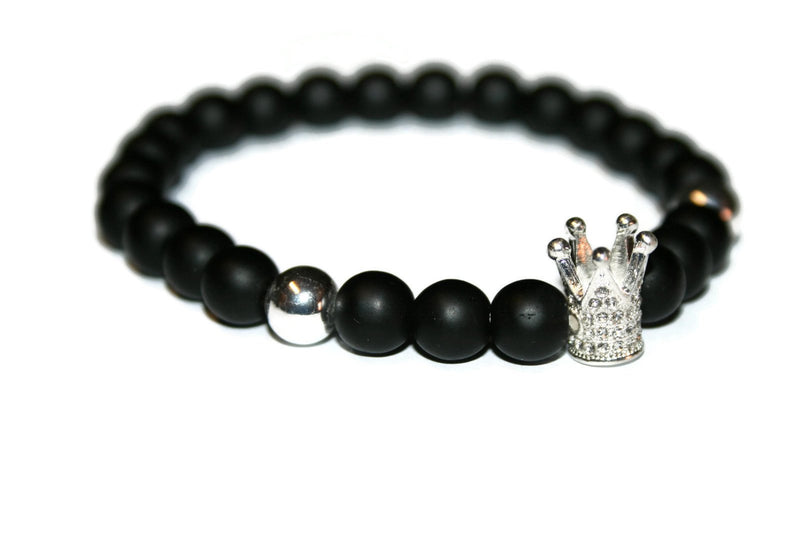 Men's Silver King Crown Bracelet | Matte Onyx Bracelet | Fashion Bracelet for Men 8mm - Zendelux Rose