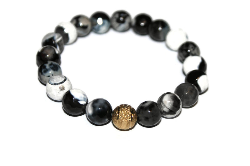 One with Nature Agate Collection Dark Sky Bracelet | Handmade Black and White Agate Bracelet | 24k Gold Bead Bracelet | Healing Crystals - Zendelux Rose
